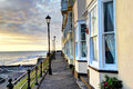 Hdr of houses by the sea in england a three images this is a view next to at dawn photographs taken resort cromer united Stock Images