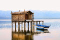 HDR image of a fishing hut in Dojran lake Stock Images