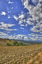 Hdr landscape of countryside and sky with Royalty Free Stock Image