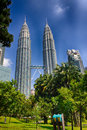 Hdr photo of petronas twin towers kuala lumpur in malaysia as seen from the park Stock Image