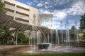 Hdr water fountain long exposure captures slow flowing in greenville south carolina Royalty Free Stock Images