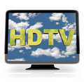 HDTV Flatscreen Display on White Stock Image