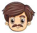 A head of an adult with a mustache illustration on white background Royalty Free Stock Photos