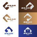 Head Bear in diamond with rounded corners logo vector set design Royalty Free Stock Photo