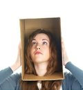 Head in box Stock Images