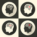 Head with brain and idea lamp bulb pictograph. Male human think symbols. Vector illustration.