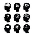 Head brain vecotr icons set Stock Photography