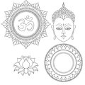 Head of Buddha. Om sign. Hand drawn lotus flower. Isolated icons of Mudra. Beautiful detailed, serene. Vintage decorative elements Royalty Free Stock Photo