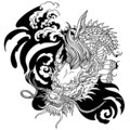 Head of Chinese or East Asian dragon. Black and white