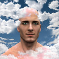 Head in clouds man with Royalty Free Stock Images