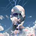 Head in clouds mans with lightning Stock Photos