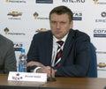 Head coach of CSKA hockey club Vyacheslav Butsaev the post-match press conference Stock Photo