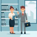 Head of company and secretary woman, business characters working in office, modern office interior vector Illustration Royalty Free Stock Photo