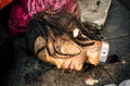 Head of dirty mannequin doll was left in a garbage dump garbage Stock Image