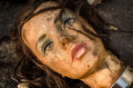 Head of dirty mannequin doll was left in a garbage dump garbage Royalty Free Stock Photo