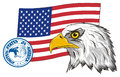 Head of eagle with two signs of USA