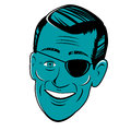 Head with eyepatch stylized retro cartoon Royalty Free Stock Images