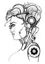 Head female cyborg. Concept silhouette, skull, profile beautiful girl. Contour vector illustration on white background.