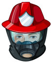 A head of a fireman illustration on white background Royalty Free Stock Photography