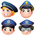 Head of four cops illustration the on a white background Stock Image