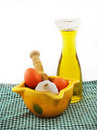 Head of garlic and mortar olives oil Stock Images