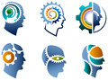 Head and gear logo set Royalty Free Stock Photo
