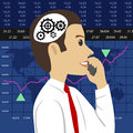 Head and gears. Young stock broker talking on phone over charts of financial instruments with various type of indicators