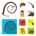 Head of a horse, a bull`s head, a revolver, a cowboy girl. Rodeo set collection icons in cartoon,flat style vector