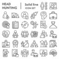 Head hunting line icon set. Job and office collection or sketches, symbols. Corporate business signs for web, outline Royalty Free Stock Photo