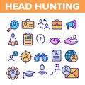 Head Hunting Service Linear Vector Icons Set