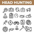 stock image of  Head Hunting Service Linear Vector Icons Set