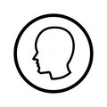 Head icon in circle - vector iconic design