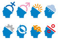 Head icon set, vector Stock Photos