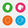 Head icons. Male and female human symbols.