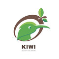 Head of kiwi bird in shape of kiwi fruit with green leaves, isol Royalty Free Stock Photo