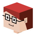 head lego child with red hair and glasses Royalty Free Stock Photo