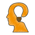 Head and lightbulb abstract wisdom icon image