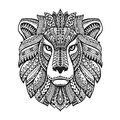 Head lion. Ethnic patterns. Hand drawn vector illustration with floral elements. Leo, animal symbol