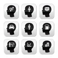 Head man thoughts buttons set what men think of grey square isolated on white Royalty Free Stock Photography