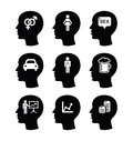 Head man thoughts icons set what men think of black isolated on white Royalty Free Stock Photography