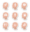 Head man thoughts icons set what men think of labels isolated on white Royalty Free Stock Images