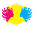 Head outlines in paint blothes female faces formed red and blue blotches against yellow Stock Images