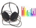 Head phones image of graphic equalizer and music concept Stock Images