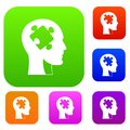 Head with puzzle set color collection Royalty Free Stock Photo