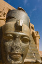 Head of ramesses ii the statue from king in front ramesseum temple egypt africa Stock Photos