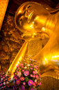 Head of the reclining buddha temple in bangkok thailand Stock Photography