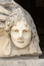 Head relief on the Portico of Tiberius in Aphrodisias, Aydin, Tu Stock Photos