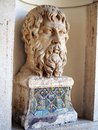 Head of roman statue tivoli italy marble male on display in the villa d este Royalty Free Stock Photo