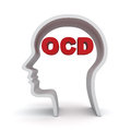 Head shape with red ocd text or obsessive compulsive disorder anxiety symptoms concept over white background Royalty Free Stock Images