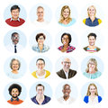 Head shots of Multi-Ethnic Group of People Isolated Royalty Free Stock Photo